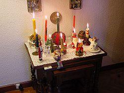 Christmas candle display