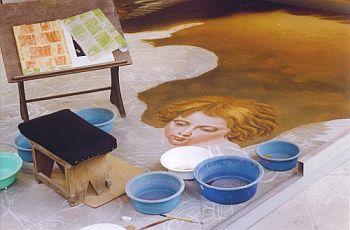 making a sand carpet La Orotava