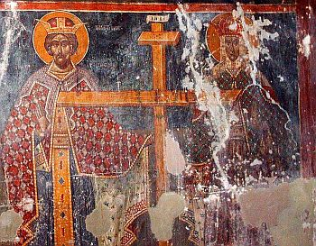 Emperor Constanine I with his mother Elena and the Holy Cross